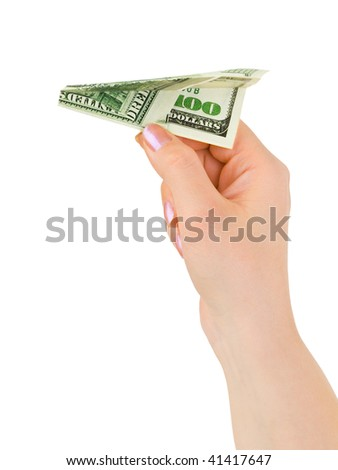 Hand and money plane isolated on white background