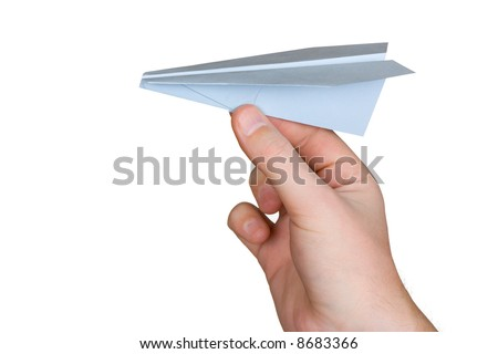 Hand and paper plane, isolated on white background
