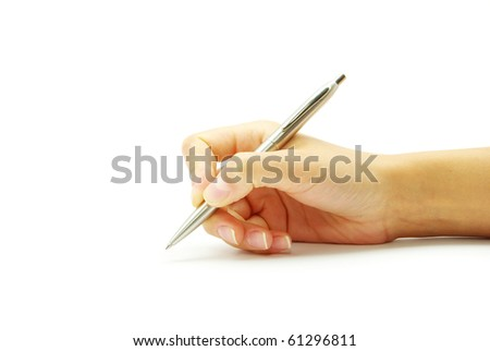 Hand and pen on the white background - stock photo