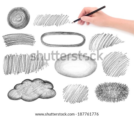 hand and pencil scribbles design elements - stock photo