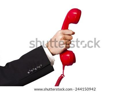 hand and phone - stock photo