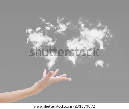 Hand and sky clouds map - stock photo