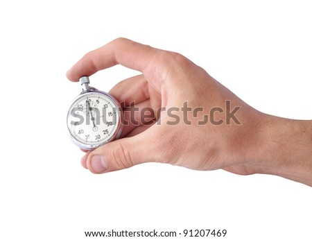 hand and stopwatch isolated
