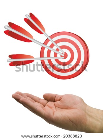 Hand and target with arrows