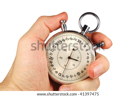 hand and timer isolated on white