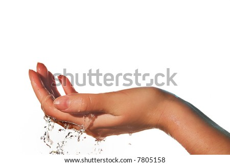 Hand and water drops - stock photo