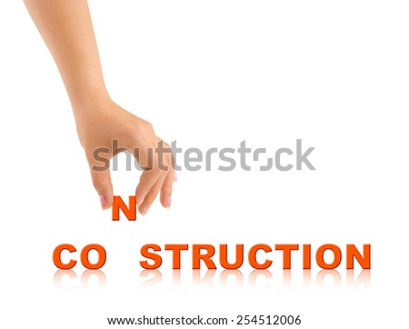 Hand and word Construction isolated on white background - stock photo