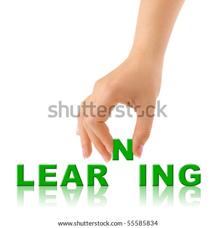 Hand and word Learninig - education concept - stock photo
