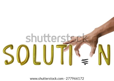 Hand and word solution. - business concept - stock photo