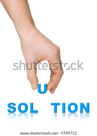Hand and word Solution, business concept, isolated on white background - stock photo