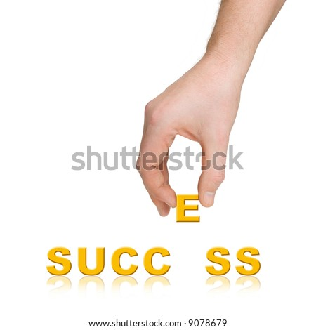 Hand and word Success, business concept, isolated on white background - stock photo