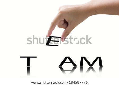 Hand and word team concept.   - stock photo