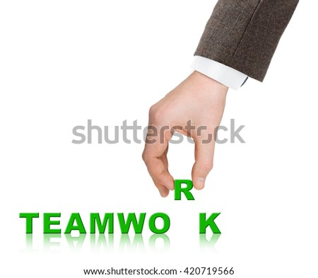 Hand and word Teamwork isolated on white background - stock photo