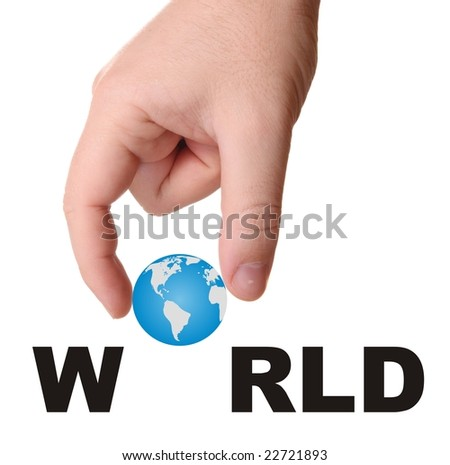 Hand and word world isolated on white background  with earth image - stock photo