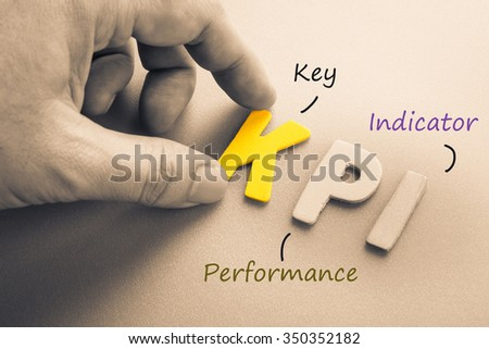 Hand arrange wood letters as KPI acronym (Key Performance Indicator) - stock photo