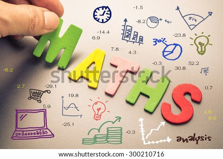 Hand arrange wood letters as Maths word with mathematics drawing icon - stock photo