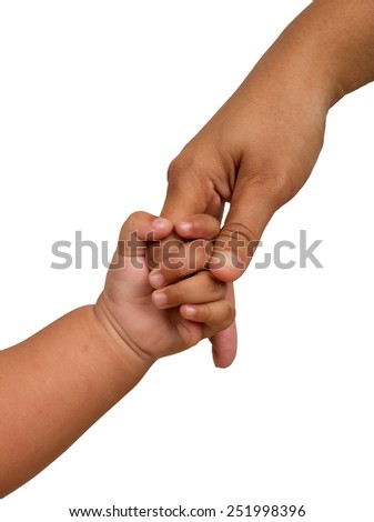 hand baby holds a finger mom. over white background - stock photo