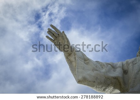Hand bless.Cerro de los Angeles is located in the municipality of Getafe, Madrid. It is considered the geographic center of the Iberian Peninsula - stock photo
