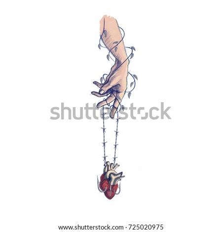 Hand Brace Heart Vines Hold Arm Stock Illustration 725020975