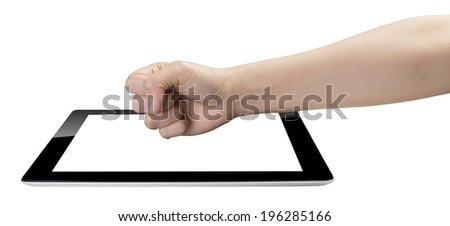 hand breaking tablet isolated on white