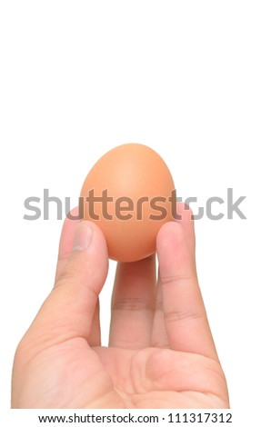 Hand bring Egg isolated on a white background - stock photo