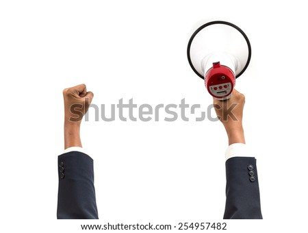 Hand. Business holding a megaphone. Isolated white background