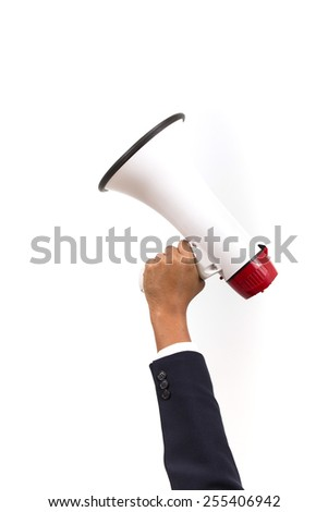 Hand. Business holding a megaphone. Isolated white background - stock photo