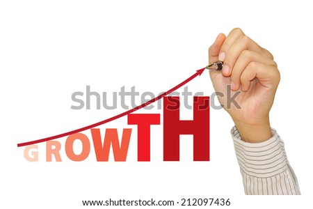 Hand Business man drawing a growing graph - stock photo