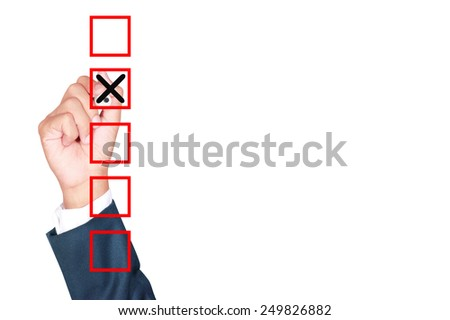 Hand Business man tick check box list on white background - stock photo