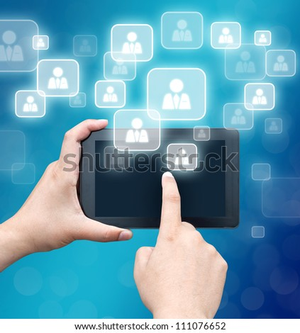 hand business man touch smart phone in hand on technology background