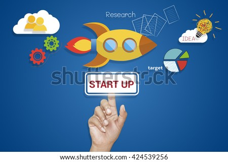 Hand button Start Up Business Launch to Success.