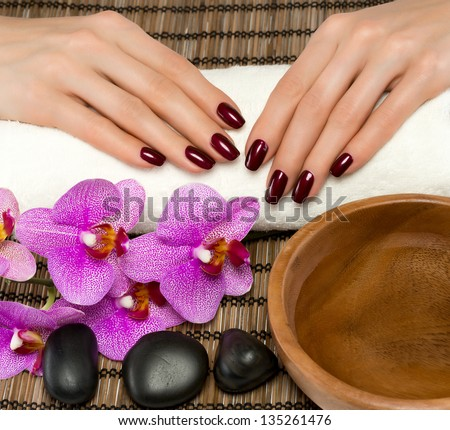 Hand care and manicure in the salon spa - stock photo