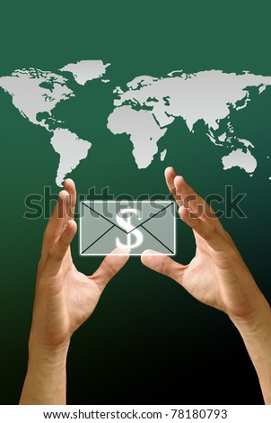 Hand carry the email icon with the world map background, Concept - stock photo