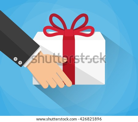 Hand carrying a goft box. delivery concept. illustration in flat design on blue background with long shadow - stock photo