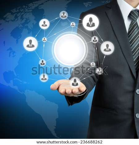 Hand carrying businesspeople icon network with blank circle in the middle that can put your texts or pictures - stock photo