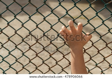 Hand catches in metal cage