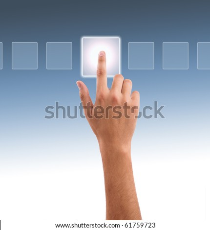 hand choosing one of the options, gradient background - stock photo