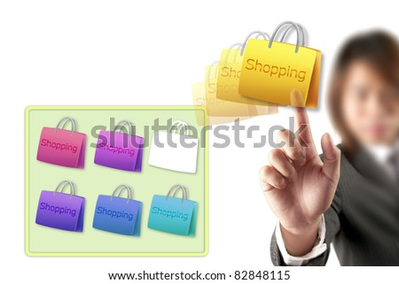 hand choosing shopping cart - stock photo