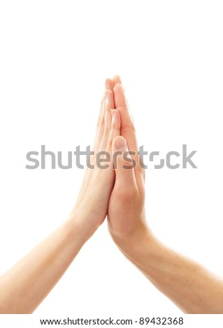 Hand clap isolated on white - stock photo