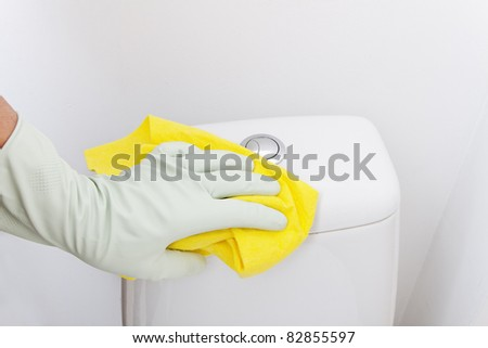 Hand cleaning wc. - stock photo