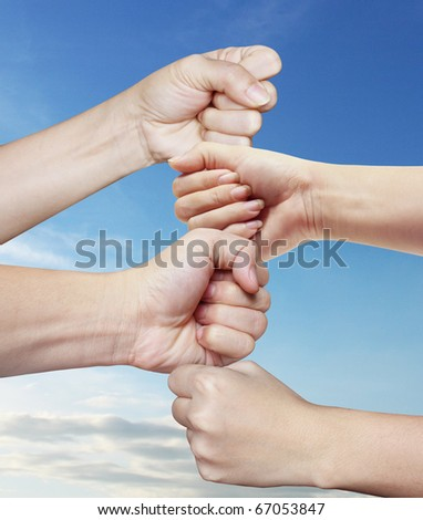 hand clenched - stock photo