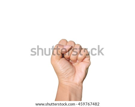 Hand clenched fist, isolated on a white background           - stock photo