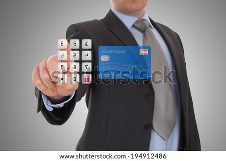 hand click security code on online banking on touch screen  - stock photo