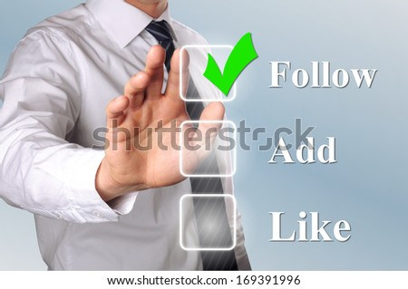 hand click the option follow in check box - stock photo