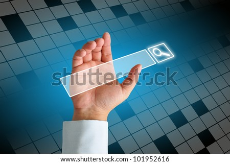 Hand clicking internet search page on computer touch screen - stock photo
