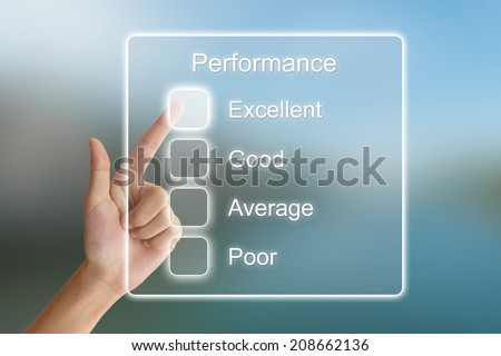 hand clicking performance on virtual screen interface  - stock photo