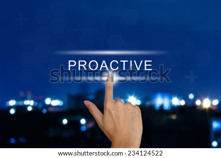 hand clicking proactive button on a touch screen interface  - stock photo