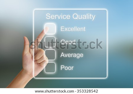 hand clicking service quality on virtual screen interface