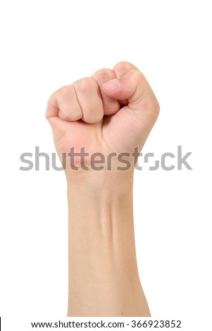 Hand compressed in a fist on a white background, gesture