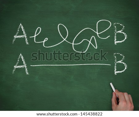 Hand connecting the letter A to the letter B on chalkboard